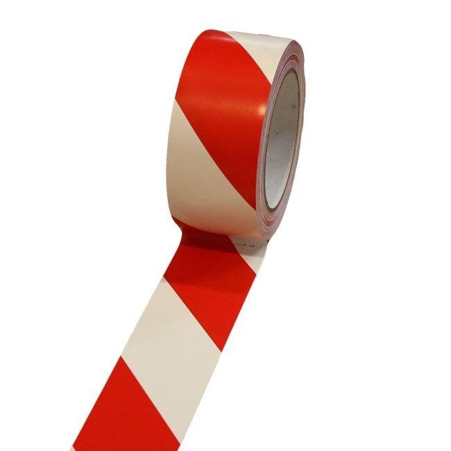 TAPIR vloerbelijning RK 625 enkelzijdig klevend zacht PVC, dikte 0.15 mm Rood -Wit 33 m 50 mm X 33 m