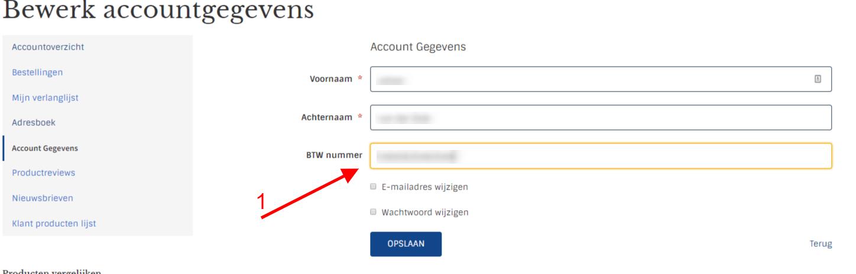 BTW nummer toevoegen bestaand account
